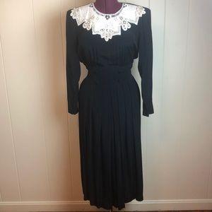 Vintage 80s/90s Black Dress w/ Lace Collar